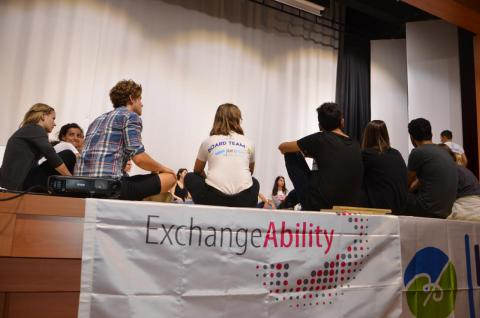 """We challenged ourselves by playing """"sitting volleyball"""" in order to understand disabled people."""